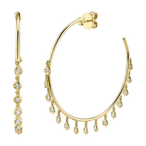 Large Bezel Diamond Shaker Hoops