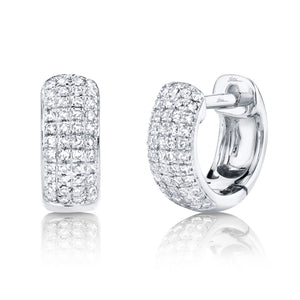 0.20CT 14K WHITE GOLD DIAMOND PAVE HUGGIE EARRING