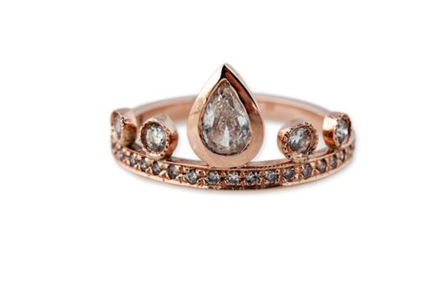 "Jacquie Aiche ""4+1 Teardrop Diamond Tiara Ring"""