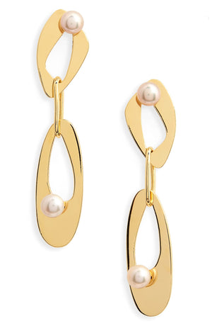 Infinity Freshwater Pearl Drop Earrings