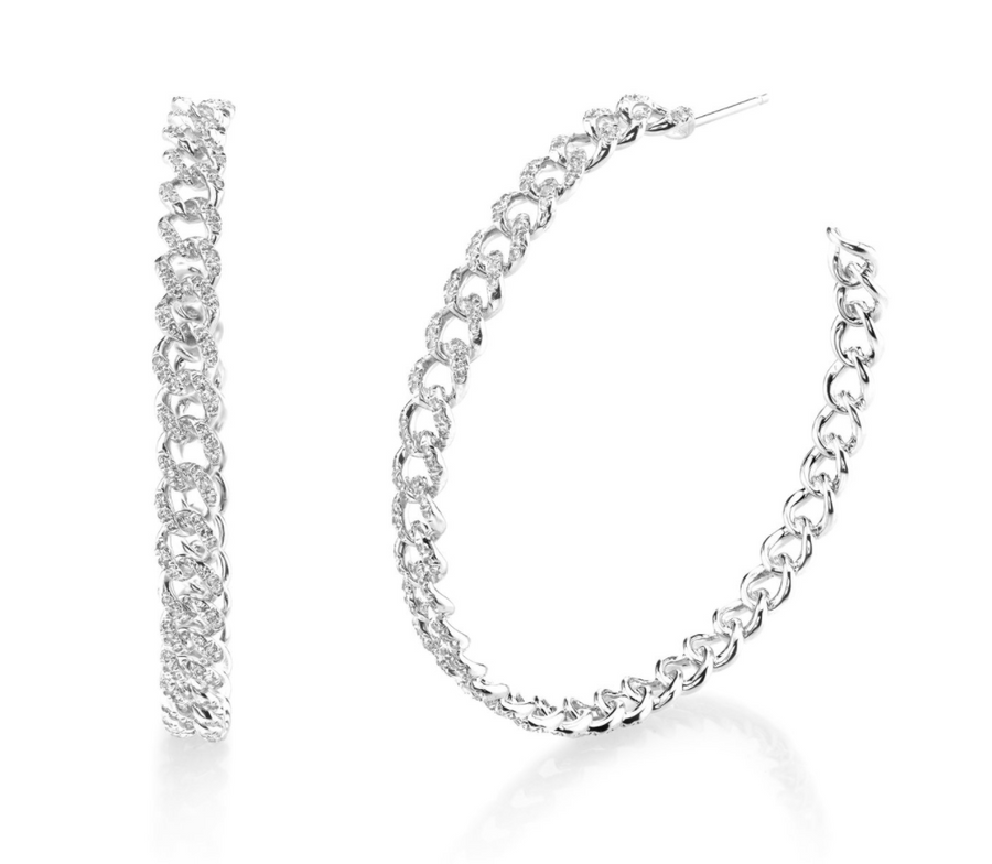 "Shay Fine Jewelry ""Essential Pave Link Hoops, 50Mm''"