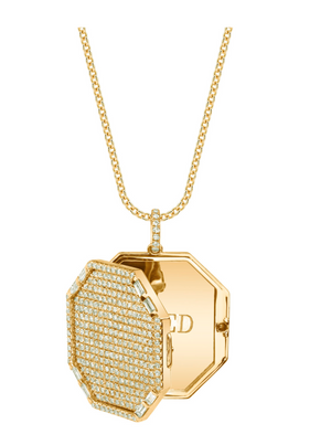 "Shay Fine Jewelry ""Full Pave Octagon Locket Necklace"""