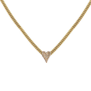 Pave Heart Cuban Chain Necklace
