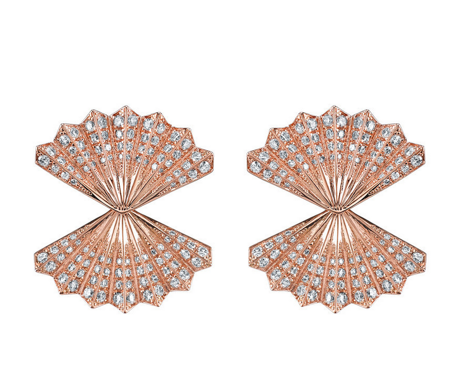 "Anita Ko ""Double Fan Diamond Earrings""."