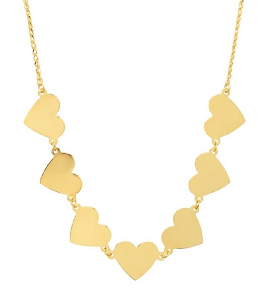 14K 7 Floating Heart Necklace