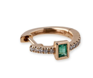 "Jacquie Aiche ""Emerald Baguette Mini Hoops"" - Millo Jewelry"