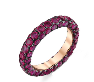 3 Sided Gemstone Eternity Band