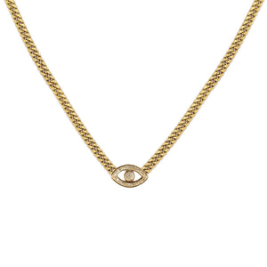 Pave Evil Eye Cuban Chain Necklace - Millo Jewelry