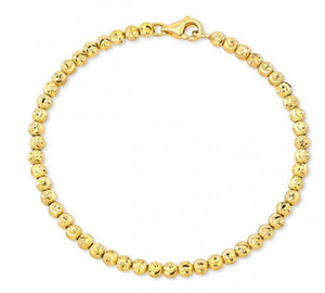 14K  Diamond Cut Bead Bracelet