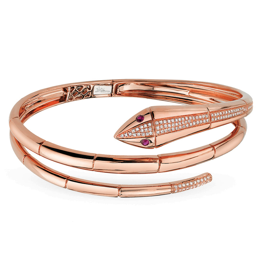 Diamond & Ruby 14K Rose Gold Snake Bangle