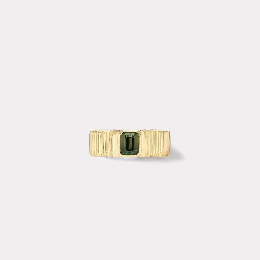 ONE OF A KIND PLEATED SOLITAIRE BAND - GREEN TOURMALINE - Millo Jewelry
