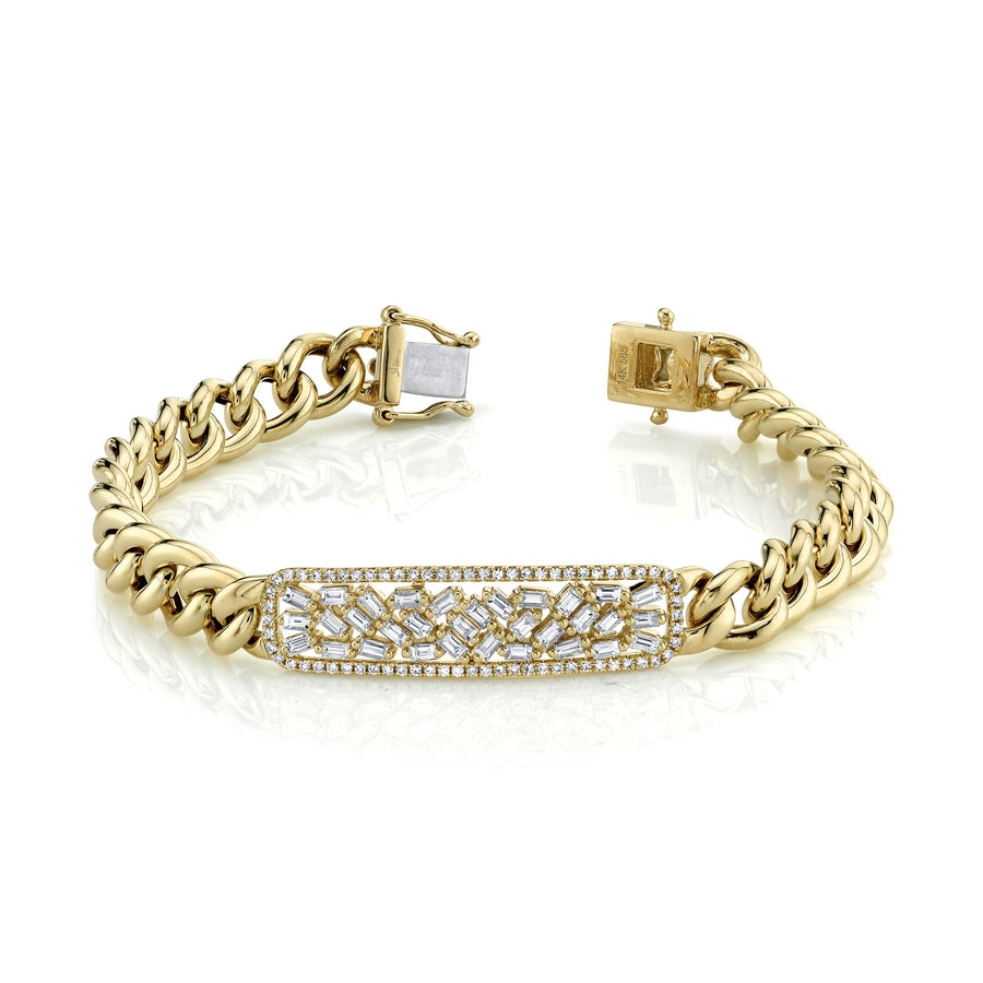 14K Yellow Gold Diamond Baguette Bar Chain Bracelet