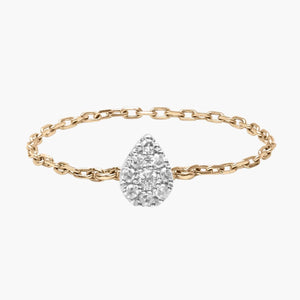 Gold and Diamond Pear Chain Ring