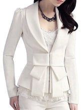 Narrow Notch Lapel  Bow  Lace Coats