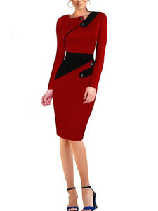 Asymmetric Neck  Colouring Bodycon Dress