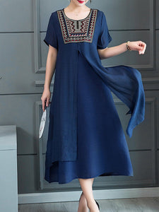 Round Neck  Asymmetric Hem  Embroidery Maxi Dress