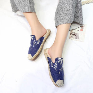 Hemp Rope Woven Embroidery Fisherman Lazy Shoes Casual Flat Slipper