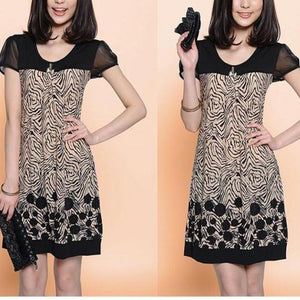 Female Printed Color Patchwork Plus Size Loose Shift Dress