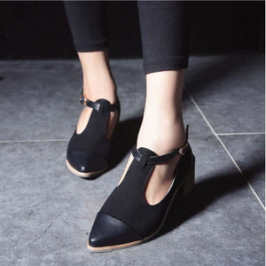 Women Stylish Retro Thick Heel T Buckle Suede Patchwork Pumps
