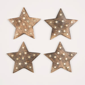 Set Of 4 Wooden Star Coasters With Brass Inlay