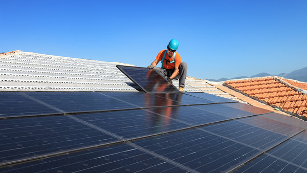 Engineers moving to a solar panel absorbing sunlight from both sides