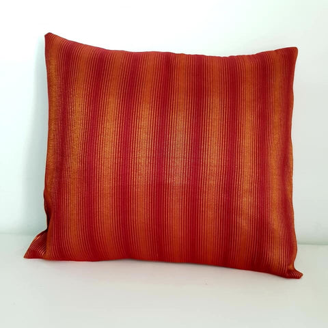 Red and Bronze striped Cushion Cover