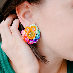 Rainbow Mixed Media Studs