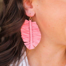 Load image into Gallery viewer, Coral Raffia Leaf Earrings