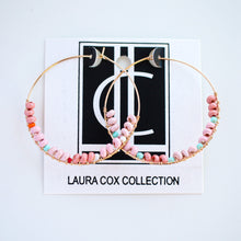 Load image into Gallery viewer, Blush Beaded Featherweight Hoops