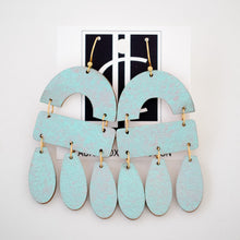 Load image into Gallery viewer, Patina Blue Wood Chandelier Earrings