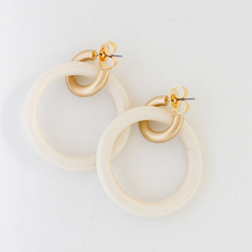 Whitewashed Wood and Gold Hoops
