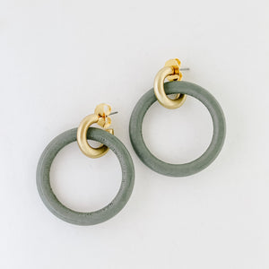 Grey Wood and Gold Hoops