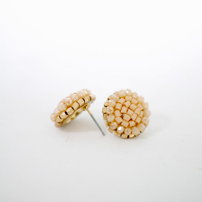 Taupe Beaded Studs