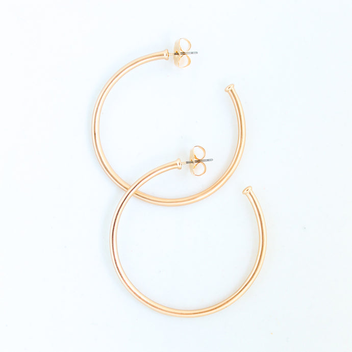 Thin Brushed Gold Hoops