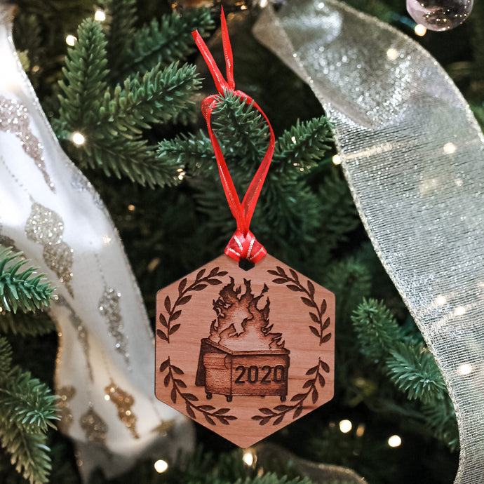 Wooden 2020 Dumpster Fire Ornament