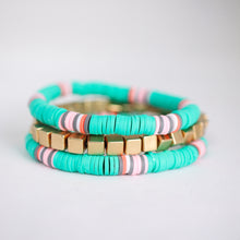 Load image into Gallery viewer, Teal Heishi Bead Bracelet Stack
