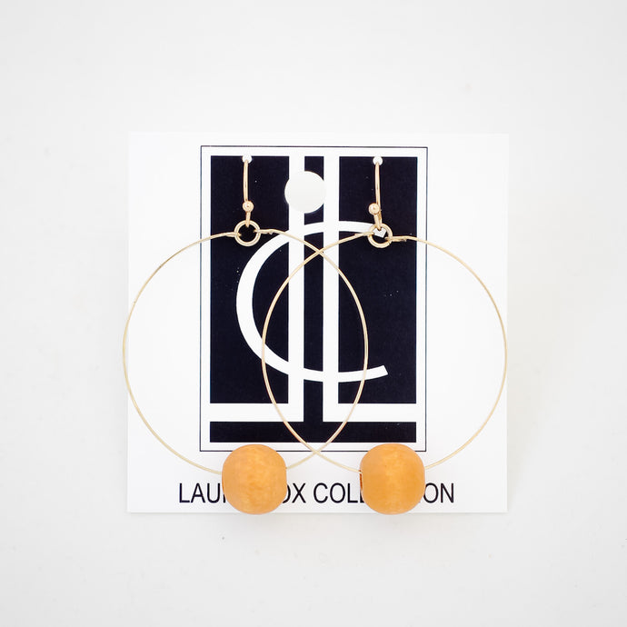 Cognac Bead and Gold Wire Hoops
