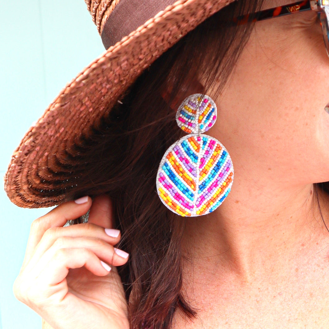 Pastel Beaded Double Disk Earrings