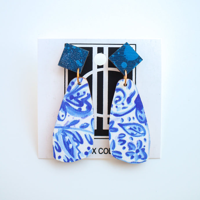 Blue and White Wooden Earrings