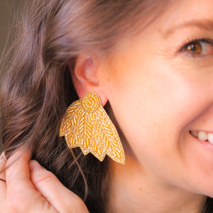 Gold Beaded Wing Studs