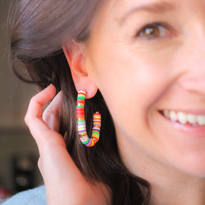 Multicolored Oval Heishi Hoops
