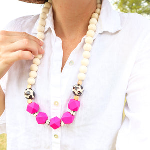 Hot Pink and Cream Beaded Necklace