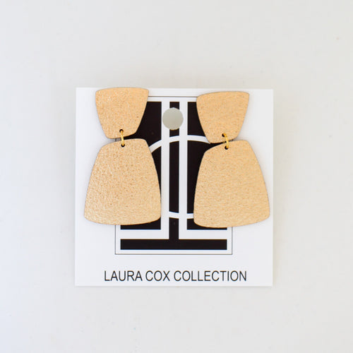 Abstract Gold Leather Earrings