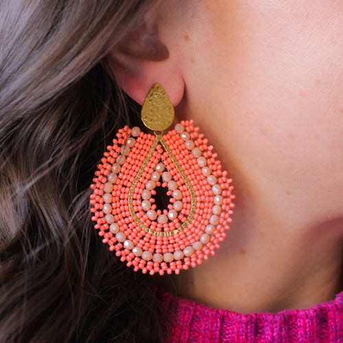 Coral and Gold Woven Beaded Earrings