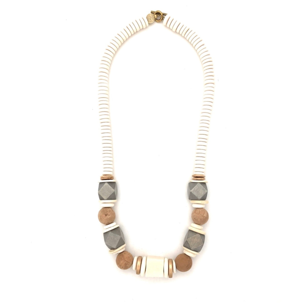 Cork and Silver Geometric Wood Necklace