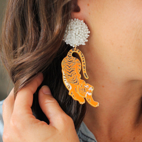 Orange Tiger Earrings