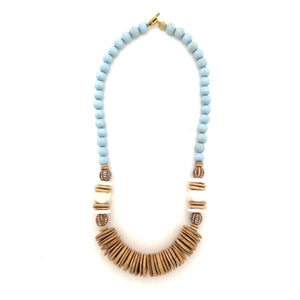 Light Blue Tumbled Wood Necklace