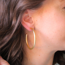 Load image into Gallery viewer, Classic Brushed Gold Hoops