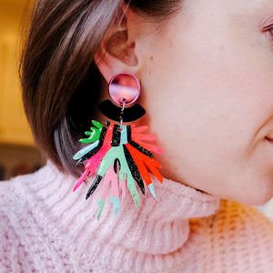 Pink Pom Pom Abstract Earrings