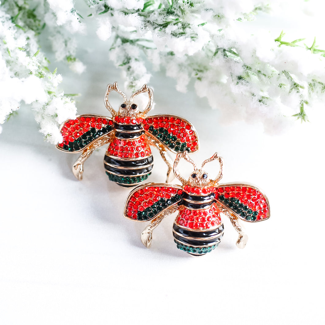 Red and Green Bee Studs